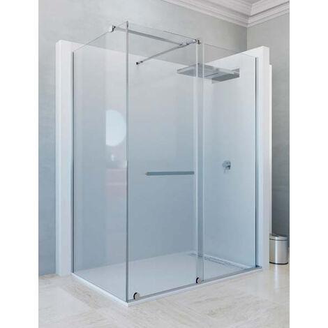 Mampara de ducha angular de 2 hojas fijas y 1 puerta corredera. - Modelo IRATI