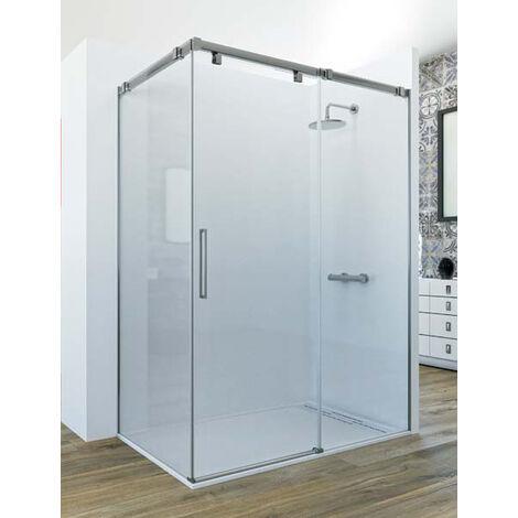 Mampara de ducha angular de 2 hojas fijas y 1 puerta corredera. - Modelo LUMIERE