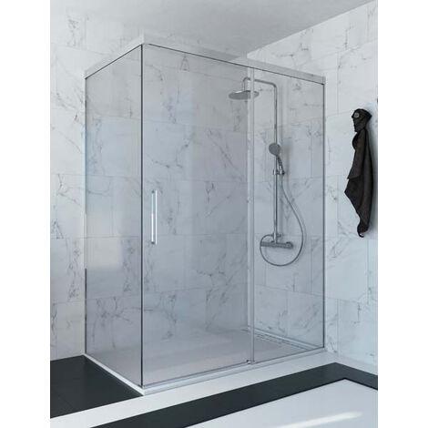 Mampara de ducha angular de 2 hojas fijas y 1 puerta corredera. - Modelo RIMO