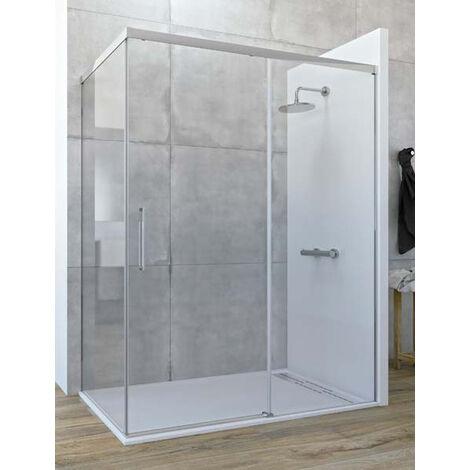 Mampara de ducha angular de 2 hojas fijas y 1 puerta corredera. - Modelo SATELITE