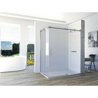Mampara de ducha angular de 2 hojas fijas y 2 puertas correderas. - ACERO INOXIDABLE - Modelo VELA