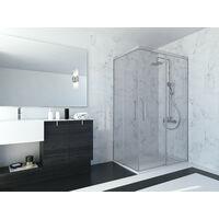 Mampara de ducha angular de 2 hojas fijas y 2 puertas correderas. - Modelo ABI