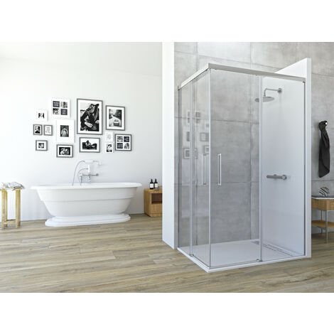 Mampara de ducha angular de 2 hojas fijas y 2 puertas correderas. - Modelo ASTRO Medida (70 X 80) - TRANSPARENTE