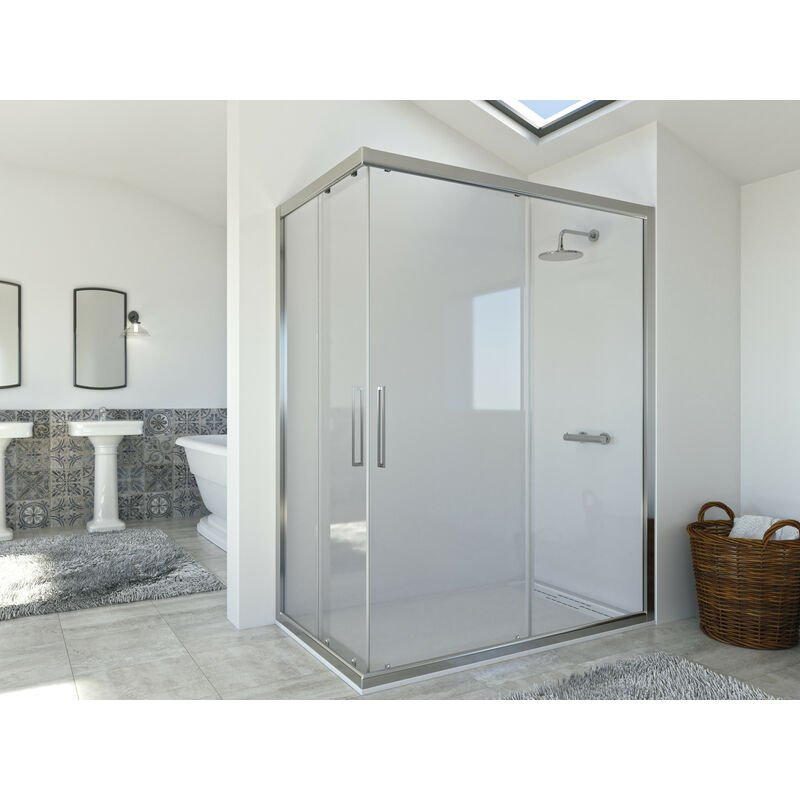 Mampara de ducha angular de 2 hojas fijas y 2 puertas correderas. - Modelo DIÓN Medida 70 X 140 - CRISTAL DECORADO 21 - SEVIBAN