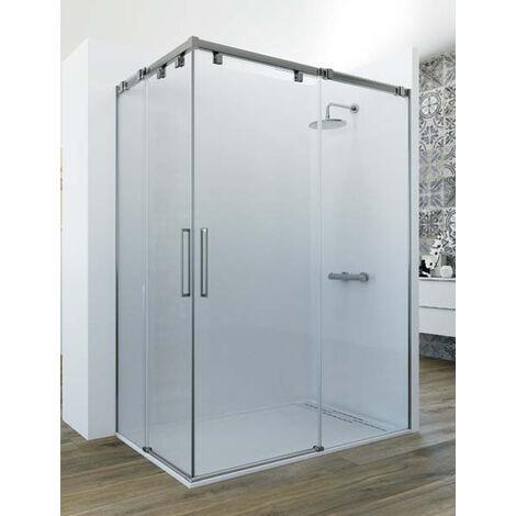 Mampara de ducha angular de 2 hojas fijas y 2 puertas correderas. - Modelo GAMMA