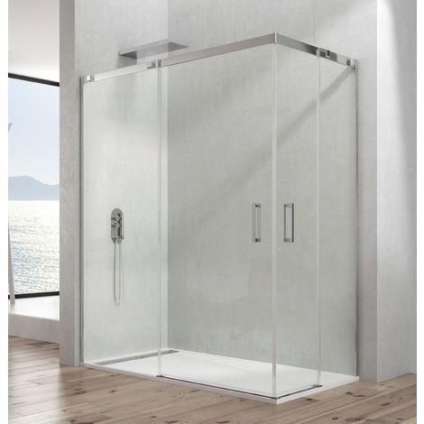 mamparas de ducha fijas mampara de ducha angular de 2 hojas fijas y 2 puertas