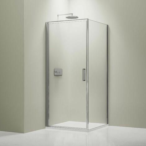 Mampara de ducha angular, de cristal auténtico NANO de 6 mm EX416S - 100 x 100 x 195 cm