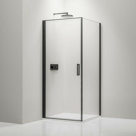 Mampara de ducha angular de cristal auténtico NANO de 6 mm EX416S negro - 100 x 100 x 195 cm