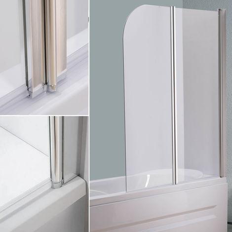 Mampara de ducha cabina de ducha bañera 133CM transparente paneles plegables para bañera o ducha biombo abatible hoja de bañera