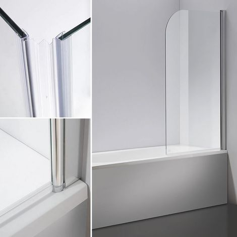 Mampara de ducha cabina de ducha bañera 140x80CM transparente paneles plegables para bañera o ducha biombo abatible hoja de bañera
