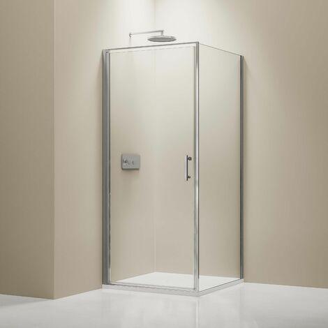 Mampara de ducha, cabina de ducha de esquina en cristal auténtico NANO EX416 - 100 x 100 x 195 cm - con plato