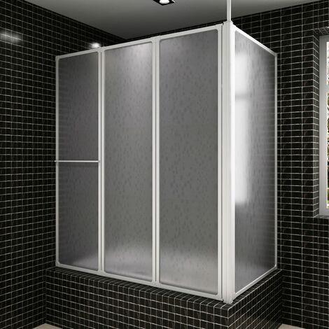 Mampara de ducha con 4 paneles plegables y toallero HAXD03706