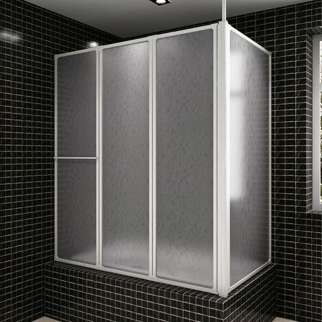 Mampara de ducha con 4 paneles plegables y toallero(no se puede enviar a Baleares)