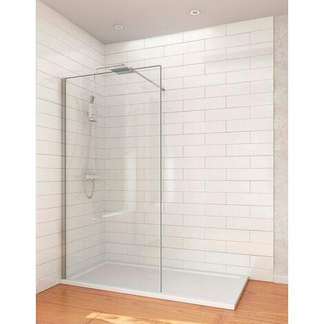 Mampara de ducha con cristal fijo modelo Walk-in. Reversible.