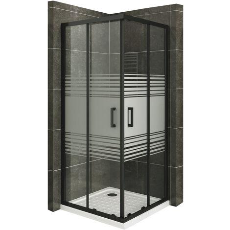 Mampara de ducha con perfiles negros vidro parcialmente satinado de seguradidad 6mm, altura 180 cm DK79 - 80x90 cm