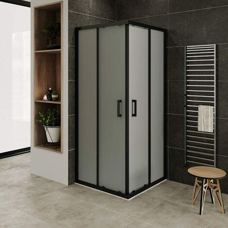 Mampara de ducha con perfiles negros vidro satinado de seguradidad 6mm, altura 185 cm DK79 con plato de ducha - 90x90 cm