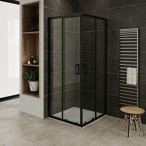 Mampara de ducha con perfiles negros vidro transparente de seguradidad 6mm, altura 185 cm DK79 con plato de ducha - 100x100 cm