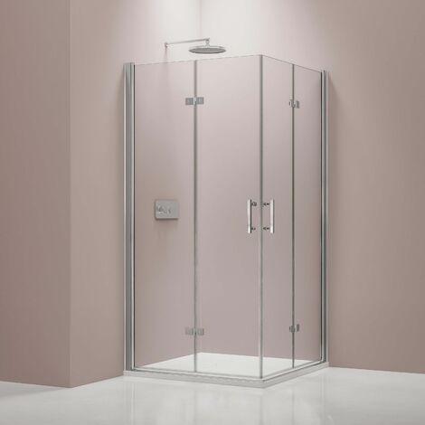 Mampara de ducha con puerta plegable de cristal NANO 8 mm DX213 - medida a elegir
