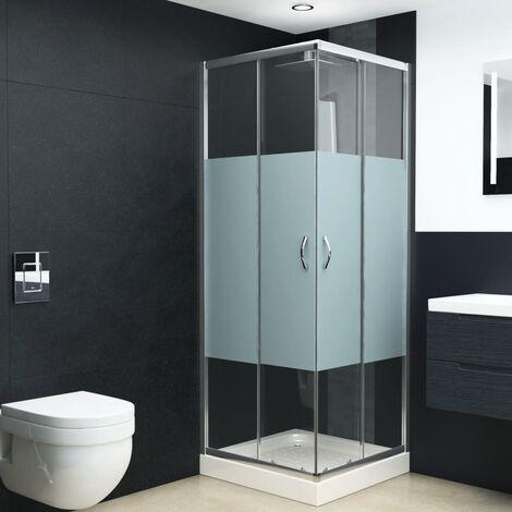 Mampara de ducha con vidrio de seguridad 70x70x185 cm