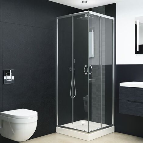 Mampara de ducha con vidrio de seguridad 80x70x185 cm