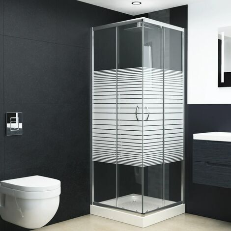 Mampara de ducha con vidrio de seguridad 80x80x185 cm