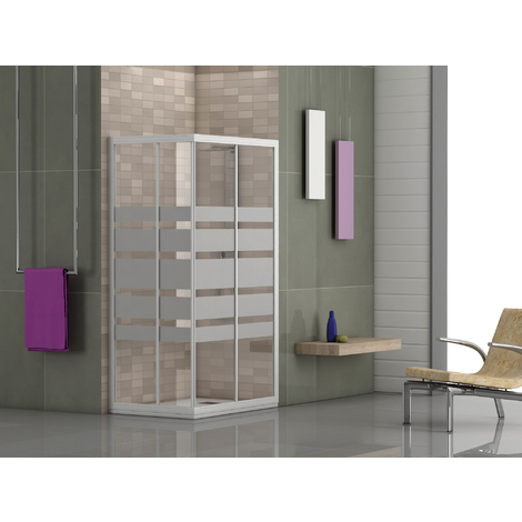 Mampara de ducha Corcega angular - 2 fijas + 2 correderas