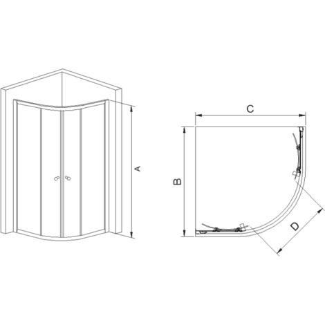 Mampara de ducha Corcega semicircular - 2 fijas + 2 correderas