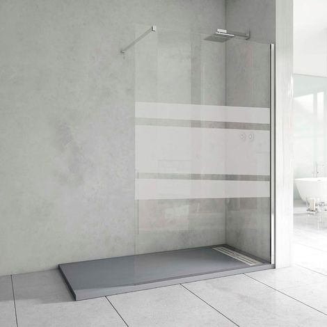 Mampara de Ducha Cristal Fijo - Grosor del Vidrio 8mm - Altura 200 cm - Antical Incluido - Perfil Aluminio Cromo - Serigrafía en Vinilo Daro