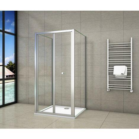 Mampara de ducha cuadrada con puerta plegable, una puerta plegable + 2 paneles laterales, vidrio templado de transparente 5mm