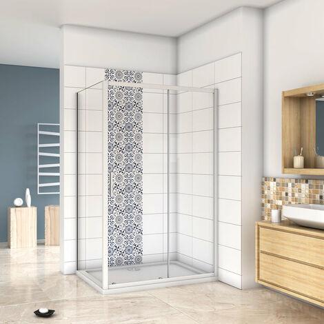 Mampara de ducha cuadrada esquina,frontal 2 hojas correderas + panel fijo lateral Cristal Templado 5mm