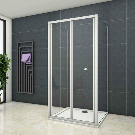 Mampara de ducha cuadrada ,frontal 2 hojas plegables + dos panel fijo lateral Cristal Templado 5mm