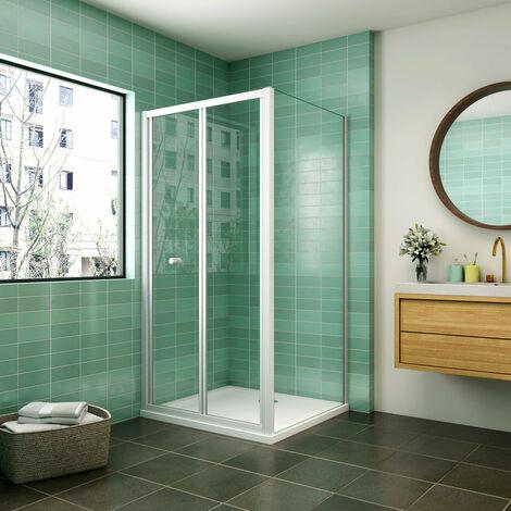 Mampara de ducha cuadrada ,frontal 2 hojas plegables + panel fijo lateral Cristal Templado 5mm