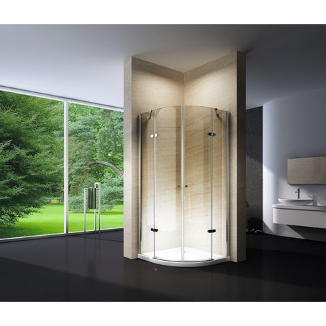 Mampara de ducha, cuarto de círculo, 90 x 90 x 195 cm, EX406