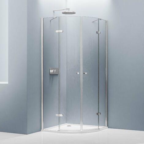 Mampara de ducha, cuarto de círculo, 90 x 90 x 195 cm, EX406 + plato