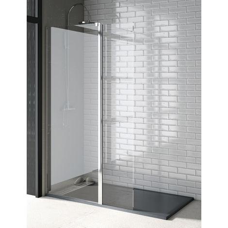 Mampara de ducha de 1 hoja fija + 1 hoja abatible - Cristal de Seguridad de 6 mm Transparente - Modelo TALA 2