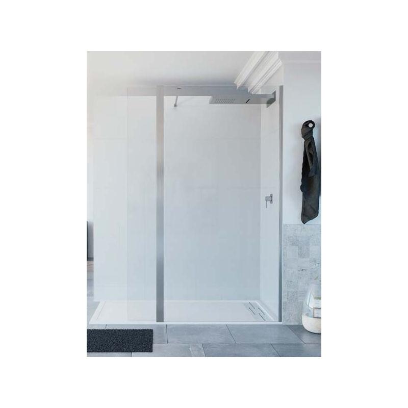 Mampara de ducha de 1 hoja fija + 1 abatible - Modelo TELLA Medida 100+25 cm - CRISTAL DECORADO 21
