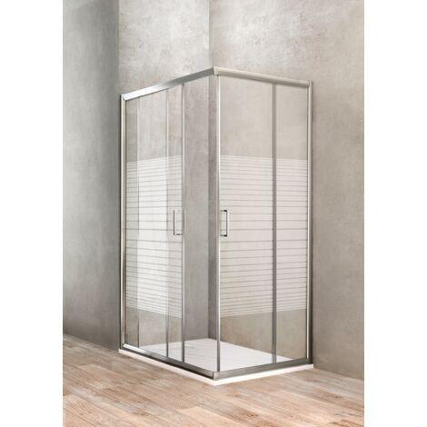 "main image of ""Mampara de ducha de esquina 100 x 120 vidrio serigrafiado Ponsi Gold BBGOLS1012 | 100x120 cm (98-100 x 118-120)"""