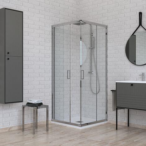 Mampara de ducha de esquina 100 x 120 vidrio transparente Ponsi Gold BBGOLT1012 | 100x120 cm (98-100 x 118-120)