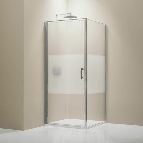 Mampara de ducha de esquina 8 mm NANO de cristal auténtico EX416-1 banda satinada - 90 x 90 x 195 cm