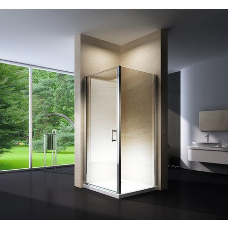 Mampara de ducha de esquina de cristal auténtico NANO EX416 - 90 x 90 x 195 cm - con plato
