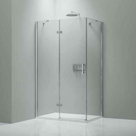 Mampara de ducha de esquina DX403 de cristal auténtico NANO transparente de 8 mm - medida a elegir:Derecho de instalación, Puerta 80cm, Vidrio sólido 70cm