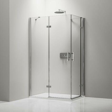 Mampara de ducha de esquina DX407 de cristal auténtico NANO transparente de 8 mm - medida a elegir :Derecha 80cm, Izquierda 80cm