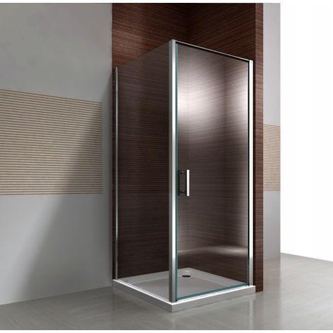 Mampara de ducha de esquina DX416 de cristal auténtico NANO transparente de 8 mm - medida a elegir