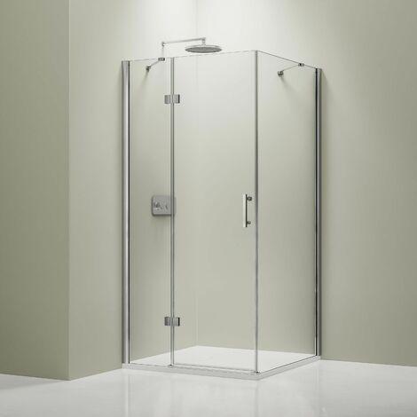 Mampara de ducha de esquina en cristal NANO, EX403, 80 x 80 x 195 cm + plato
