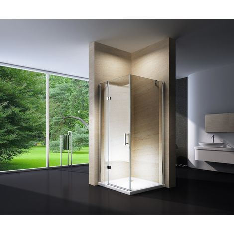 Mampara de ducha de esquina, en cristal NANO, EX403, 90 x 90 x 195 cm