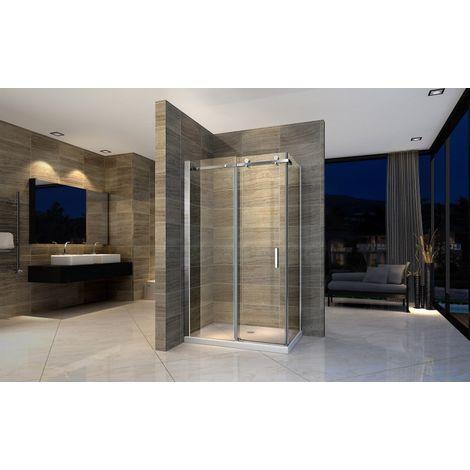 Mampara de ducha de esquina EX802, cristal genuino NANO 8mm - 120 x 80 x 195cm - con puerta corredera y lado fjio