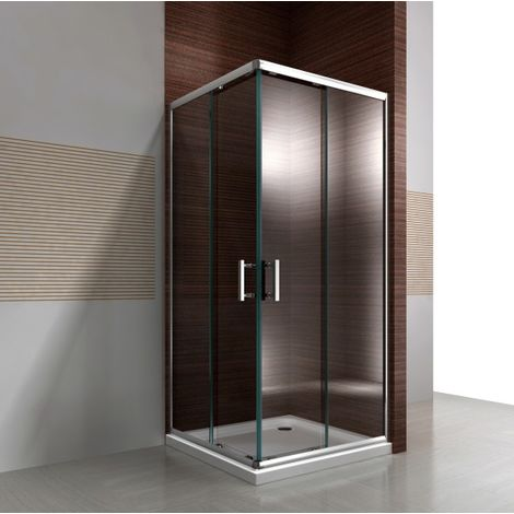 Mampara de ducha de esquina, puerta corredera, realizada en cristal auténtico NANO EX506 - 100 x 100 x 195 cm - sin plato de ducha