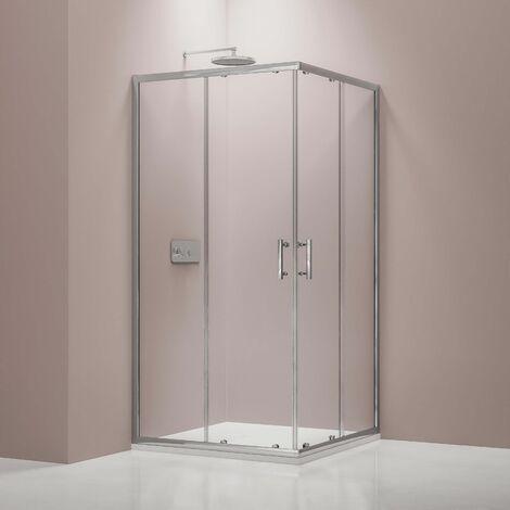 Mampara de ducha de esquina, puerta corredera, realizada en cristal auténtico NANO EX506 - 80 x 80 x 195 cm - sin plato de ducha