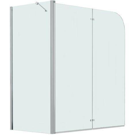 Mampara de ducha de plegado doble ESG 120x68x130 cm