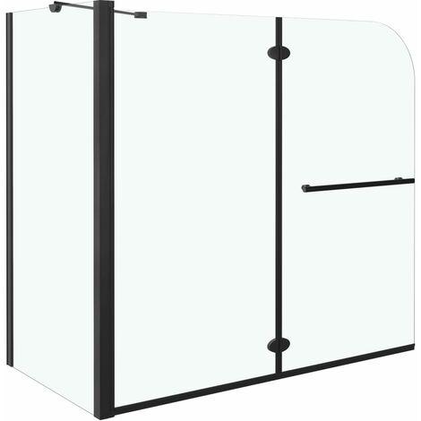 Mampara de ducha de plegado doble ESG negro 120x68x130 cm
